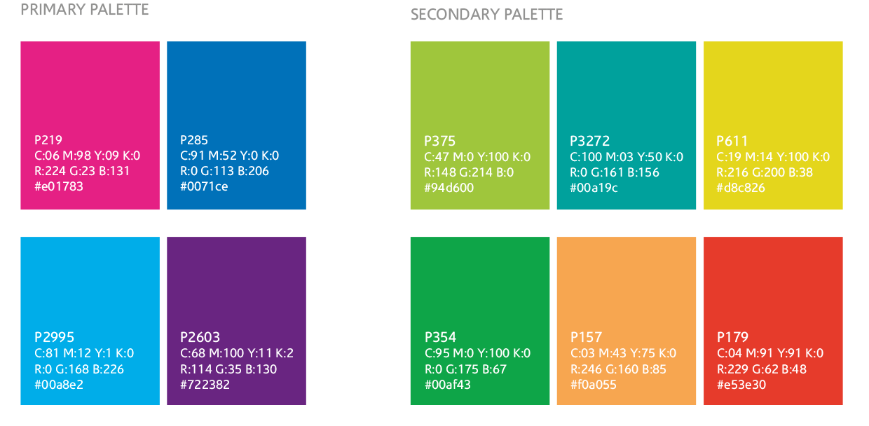 Brand development project colour palettes
