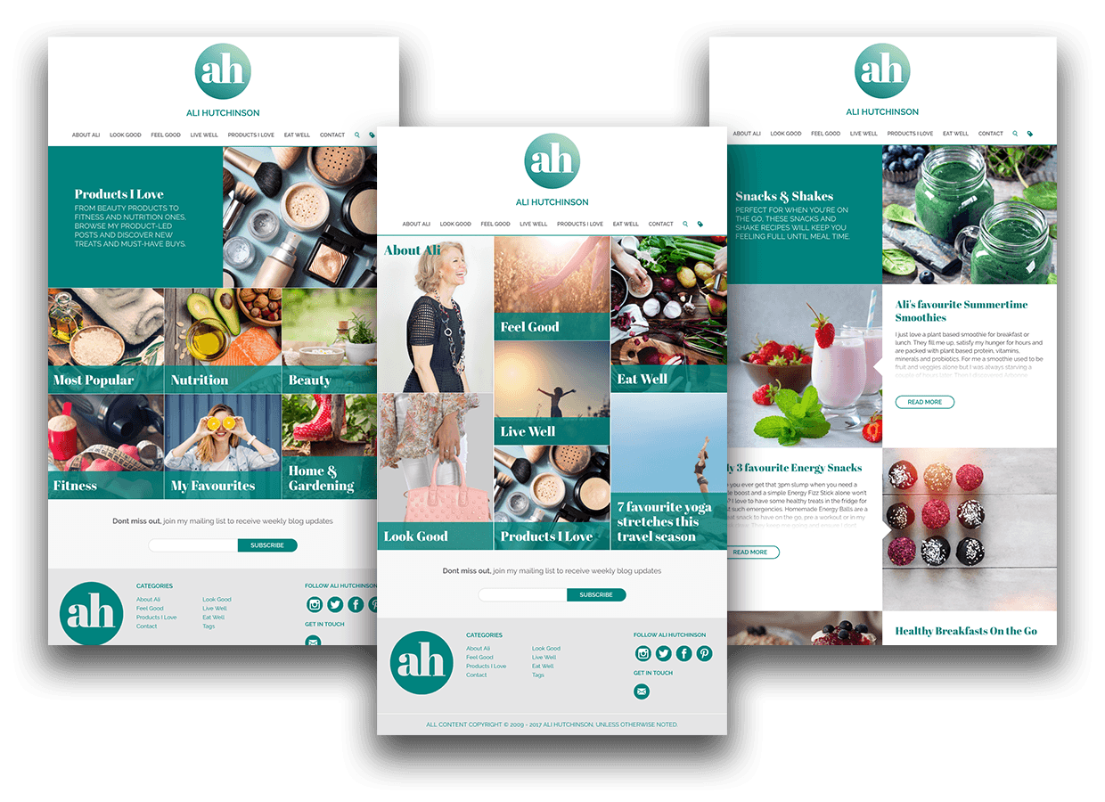 Lifestyle blogger website design and development category pages