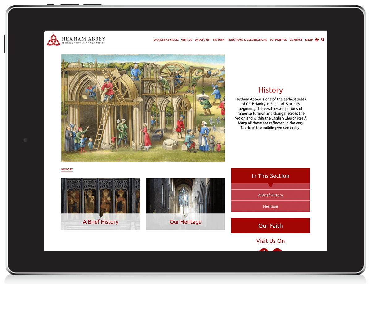 Hexham Abbey homepage - website design and development
