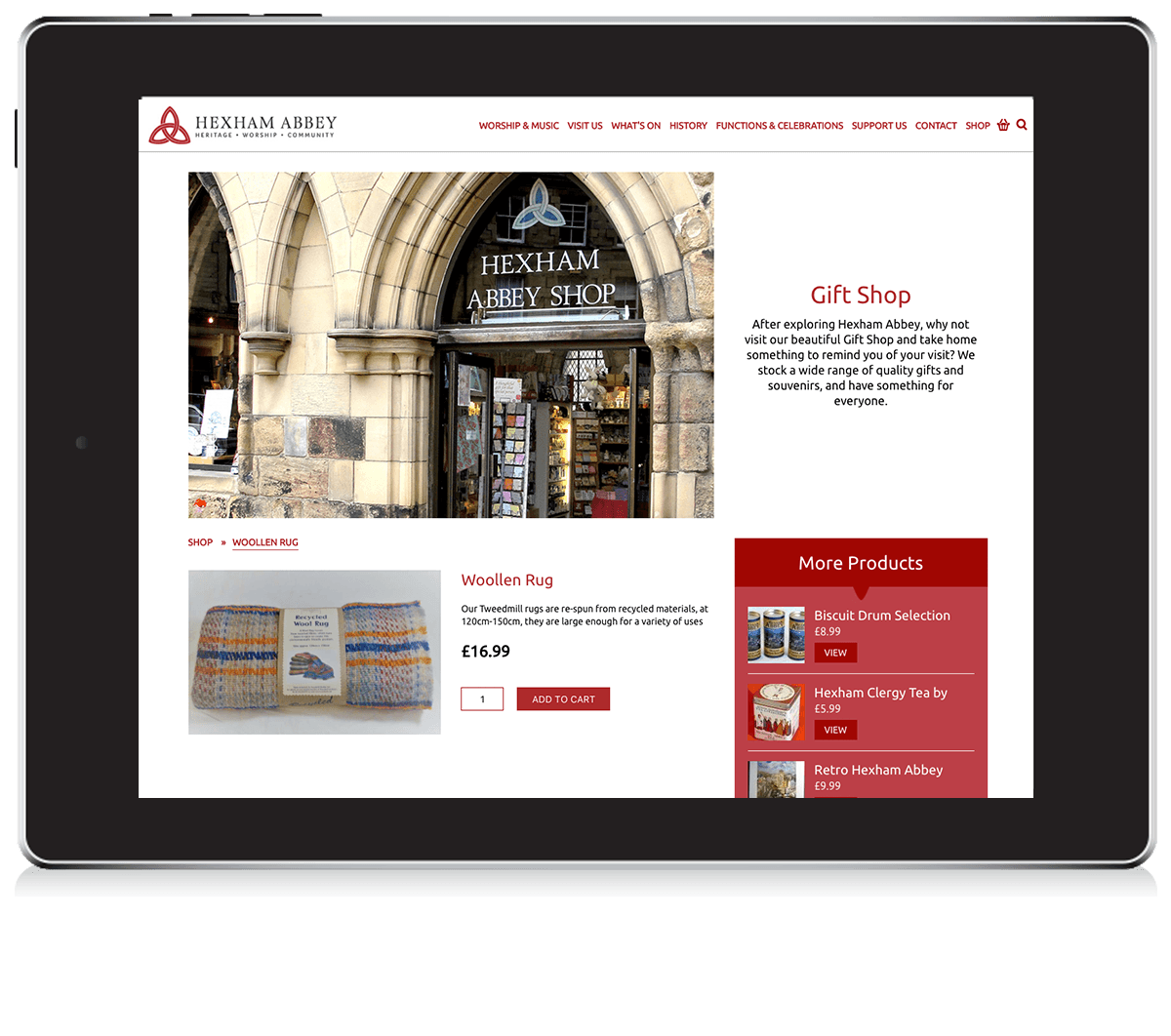 Hexham Abbey eCommerce website functionality